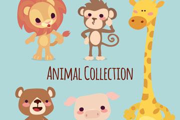 5款可爱动物矢量素材