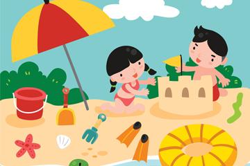 卡通沙滩上玩耍的2个儿童矢量图
