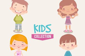 4款可爱笑脸儿童矢量素材