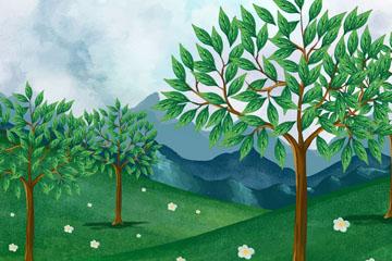 彩绘树林草地风景矢量素材