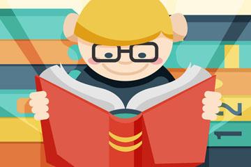 可爱世界图书日读书的男孩矢量图