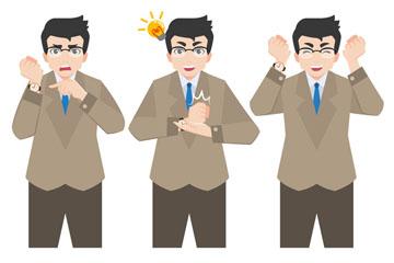 3款创意戴眼镜商务男子矢量素材