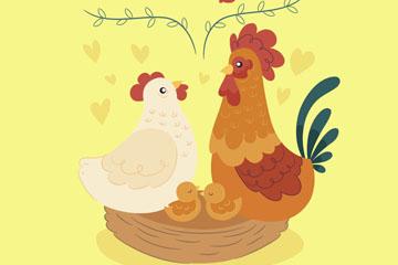 可爱鸡家庭矢量素材