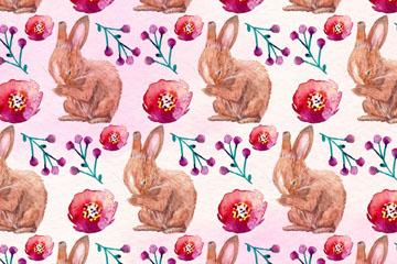 水彩绘兔子和花卉无缝背景矢量图