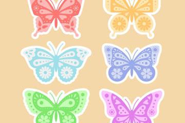 6款彩色花纹蝴蝶贴纸矢量图