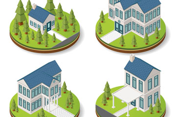 4款立体蓝色屋顶房屋矢量素材