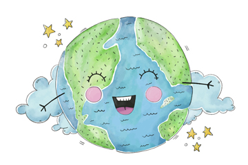 可爱彩绘笑脸地球矢量梦之城娱乐