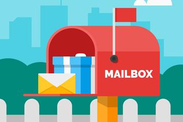 创意装满礼物的信箱矢量素材