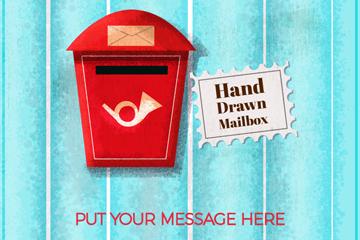 手绘红色信箱设计矢量素材