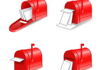 4款红色信箱矢量素材