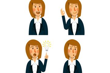 4款创意商务女子表情半身像矢量图