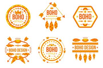 6款橙色波西米亚徽章矢量图