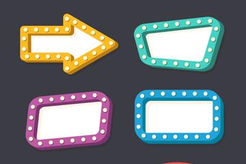 6款彩色空白霓虹灯牌矢量图