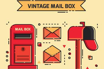 2款复古红色信箱设计矢量素材