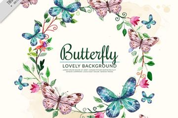 彩绘花环和蝴蝶矢量素材