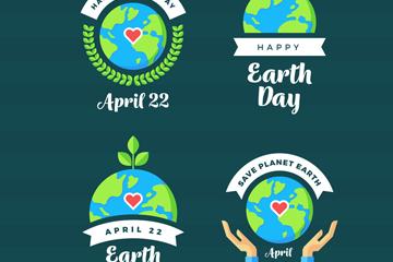 4款创意世界地球日标签矢量图