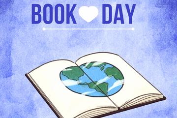 彩绘打开书页上的地球矢量图