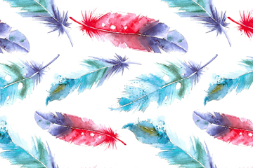 水彩绘拼色羽毛无缝背景矢量图