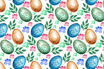 创意彩蛋和叶子无缝背景矢量图