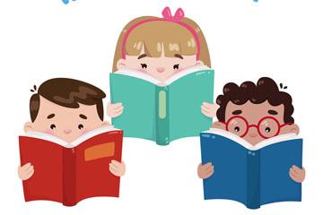 3个可爱读书儿童矢量素材