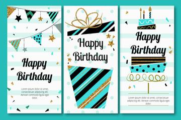 3款抽象生日快乐卡片矢量齐乐娱乐