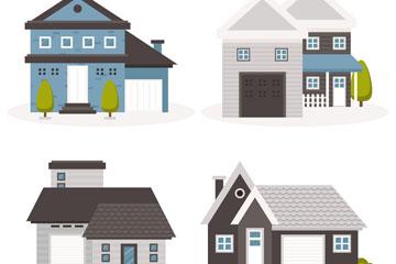 4款时尚整洁私人住宅矢量图
