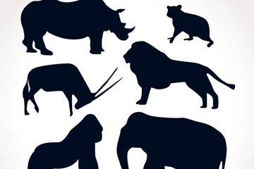 6款创意动物剪影矢量素材