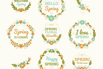 8款彩色春季花卉标签矢量图