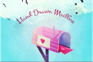 手绘装情书的信箱矢量素材