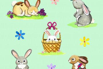 5款可爱彩绘兔子矢量素材