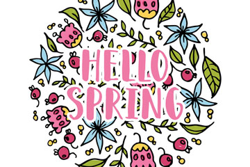 你好春季花卉组合圆形矢量图