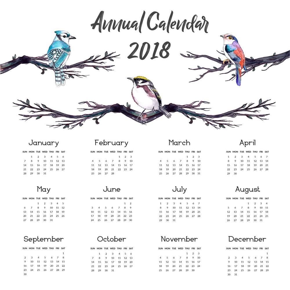 彩绘树枝鸟2018年年历矢量图图片