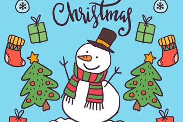可爱彩绘圣诞雪人和圣诞元素矢量