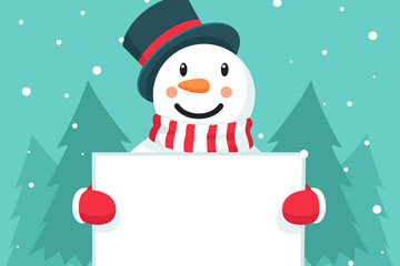 可爱举空白纸板的雪人矢量素材