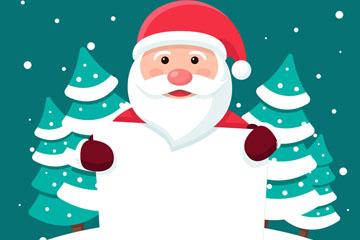 可爱举空白纸板的圣诞老人矢量图
