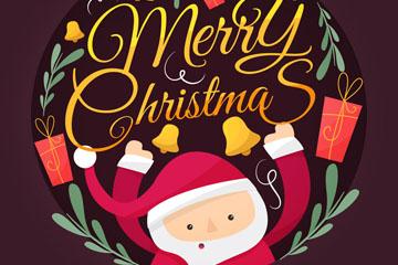 可爱彩绘圣诞老人贺卡矢量图