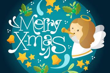 可爱圣诞天使贺卡矢量素材