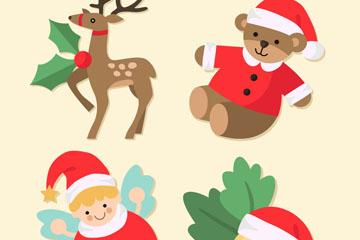 4款可爱圣诞元素贴纸矢量图
