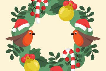 可爱北美红雀圣诞花环矢量图