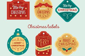 6款彩色圣诞节标签矢量素材