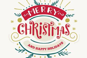 创意圣诞节快乐艺术字矢量图