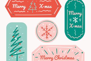 5款彩绘圣诞节快乐标签矢量素材