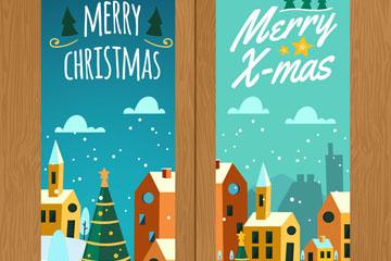 2款雪中圣诞小城banner矢量素材