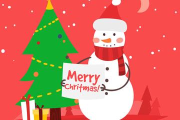 可爱圣诞雪人和圣诞树矢量图