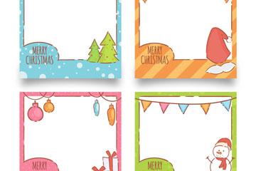 4款彩色圣诞元素照片边框矢量图