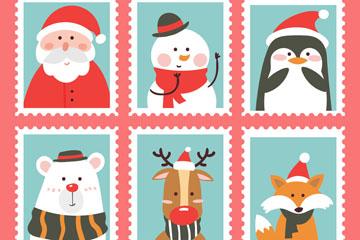 6款可爱圣诞角色邮票矢量素材