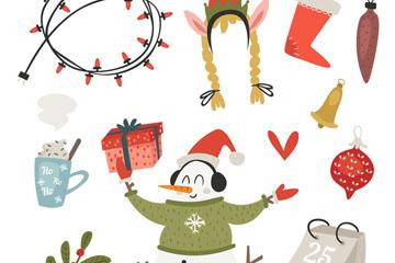 11款彩绘圣诞节装饰元素矢量素材