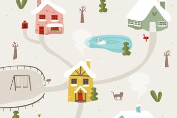 可爱雪中的圣诞小城矢量素材