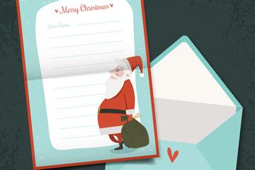 彩色圣诞老人信纸和信封矢量图