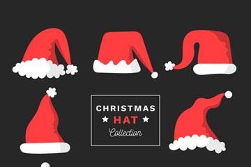 8款红色圣诞帽设计矢量素材